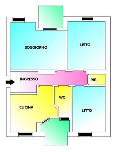 Zona S. Filippo Appartamento al 1° Piano di Tre Vani e Accessori. Buono Stato.
